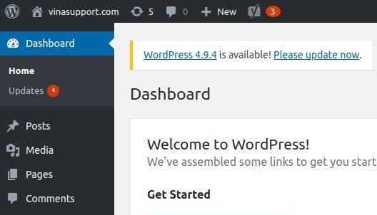 Thông báo Update của WordPress