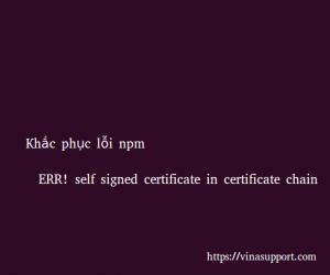"""Khắc phục lỗi npm """"ERR! self signed certificate in certificate chain"""""""