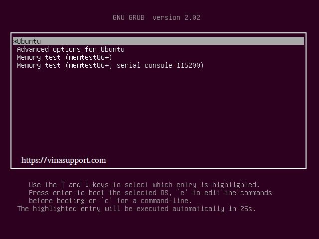 Đặt lại mật khẩu tài khoản khi lỡ quên trên Ubuntu Step 1