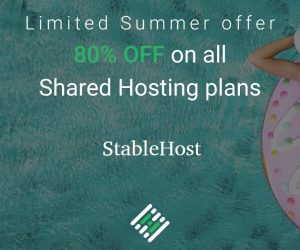 StableHost Coupon tháng 8/2020 –  Giảm giá 80% Web Hosting