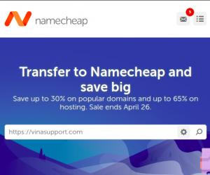 Khuyến mại Transfer Domain về Namecheap – Giảm tới 30% Transfer tên miền và 65% off Web Hosting
