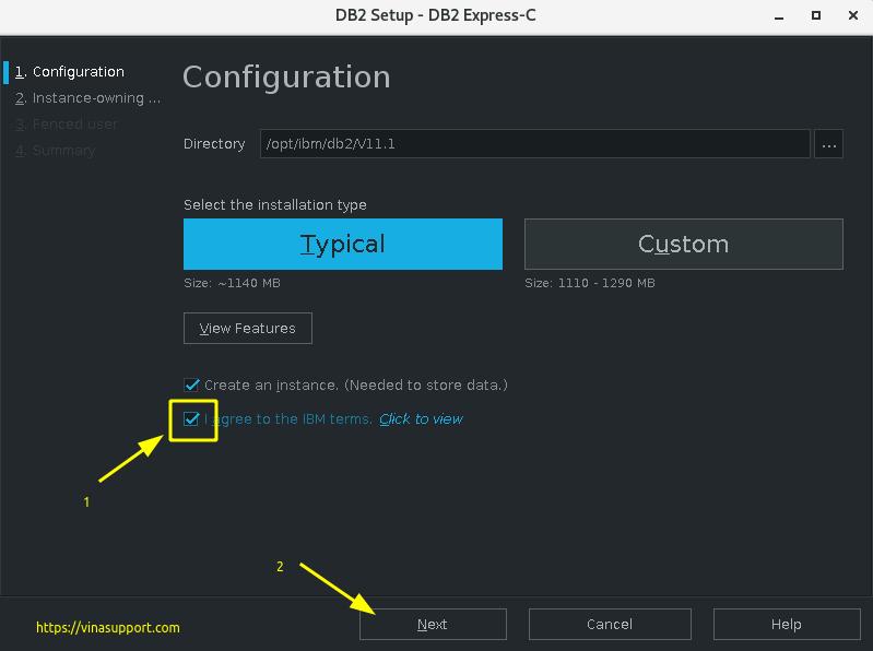 Cài đặt DB2 Express-C trên CentOS 7 Step 3