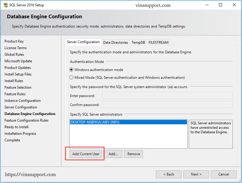 Cai dat SQL Server 2016 Step 9