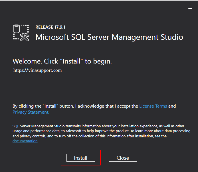 Cai dat SQL Server Management Tools Step 3