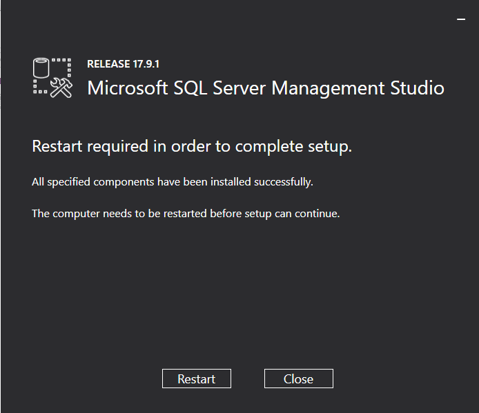 Cai dat SQL Server Management Tools Step 4