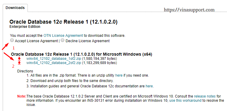 Cài đặt Oracle Database 12c trên Windows step 1