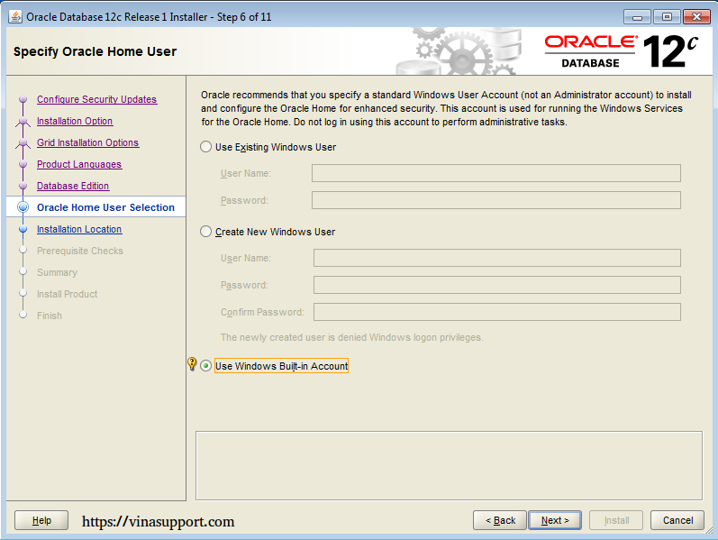 Cài đặt Oracle Database 12c trên Windows step 10