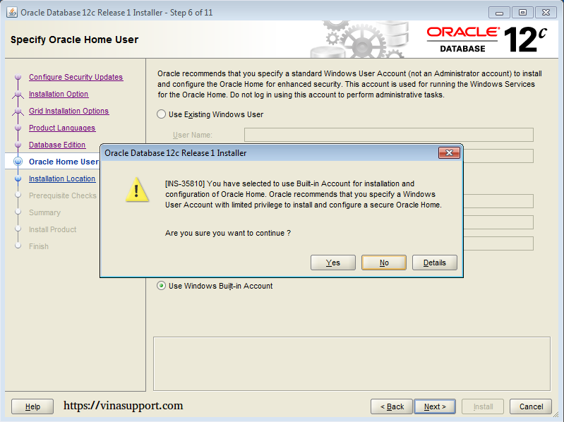 Cài đặt Oracle Database 12c trên Windows step 11