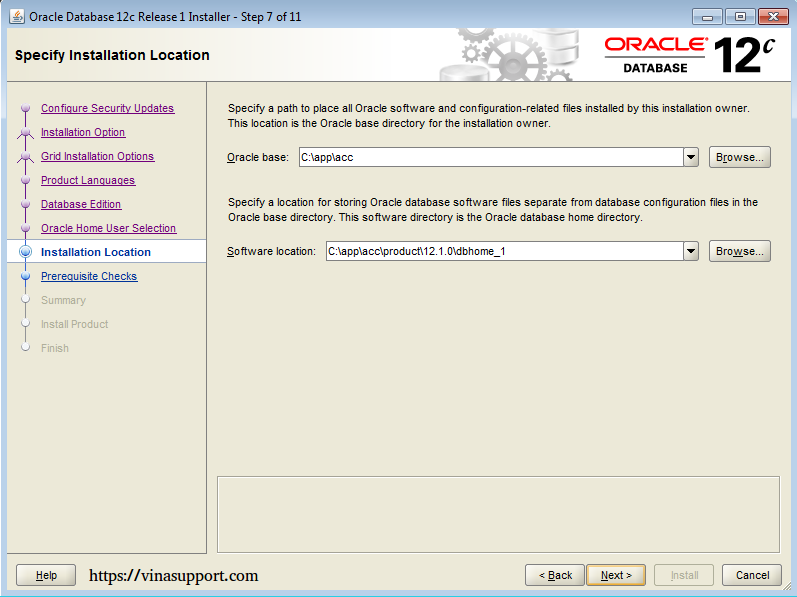 Cài đặt Oracle Database 12c trên Windows step 12
