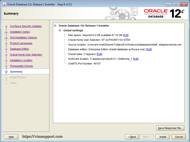 Cài đặt Oracle Database 12c trên Windows step 13