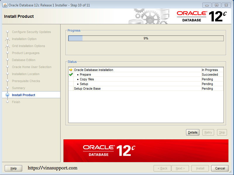 Cài đặt Oracle Database 12c trên Windows step 14
