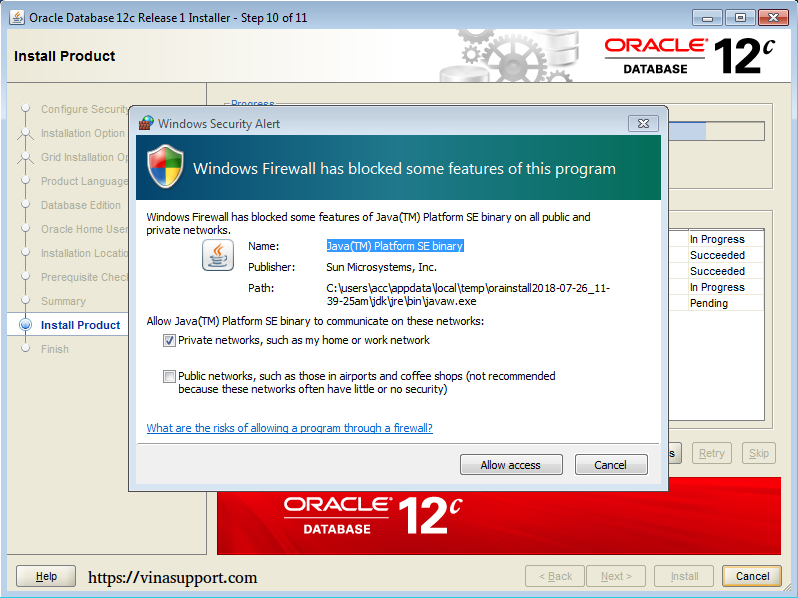 Cài đặt Oracle Database 12c trên Windows step 15
