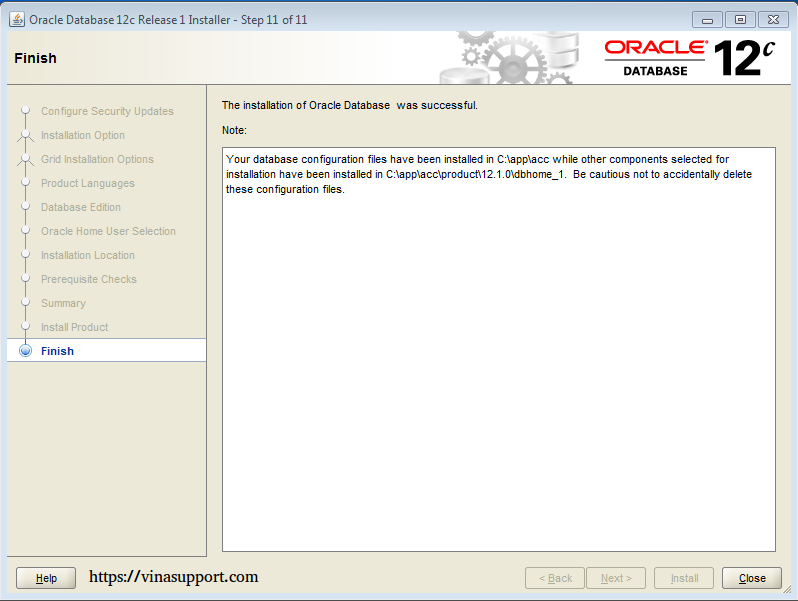 Cài đặt Oracle Database 12c trên Windows step 16