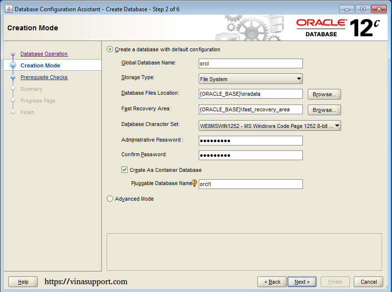 Cài đặt Oracle Database 12c trên Windows step 19