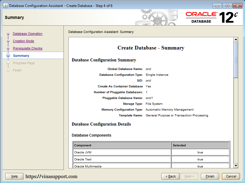 Cài đặt Oracle Database 12c trên Windows step 20