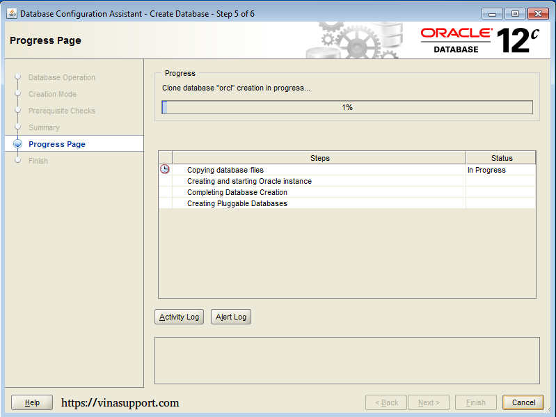 Cài đặt Oracle Database 12c trên Windows step 21