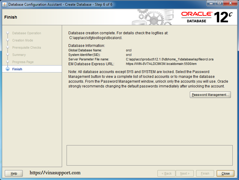 Cài đặt Oracle Database 12c trên Windows step 23