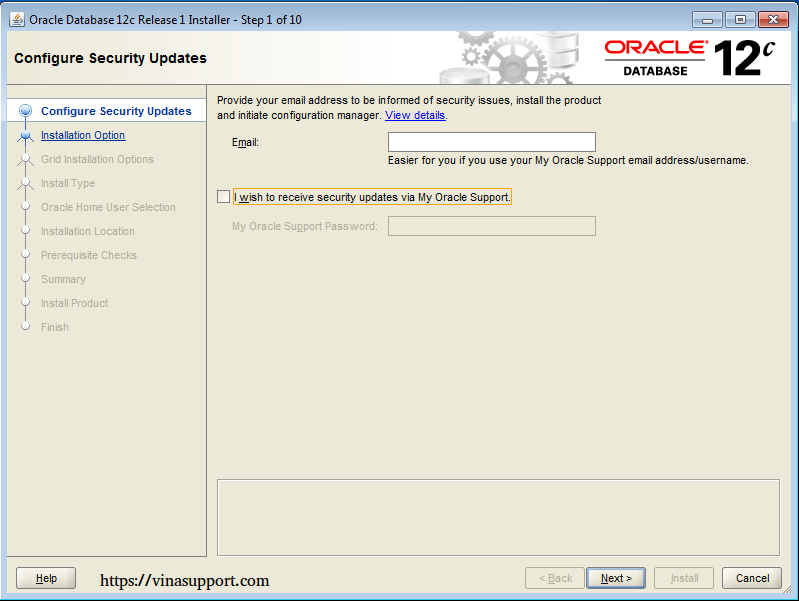 Cài đặt Oracle Database 12c trên Windows step 4