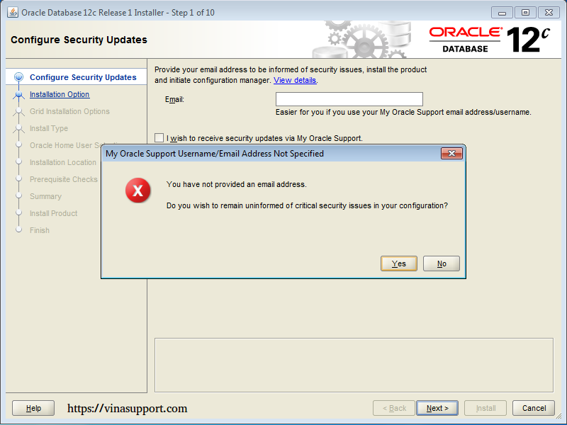 Cài đặt Oracle Database 12c trên Windows step 5