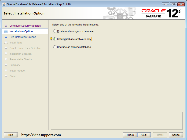 Cài đặt Oracle Database 12c trên Windows step 6