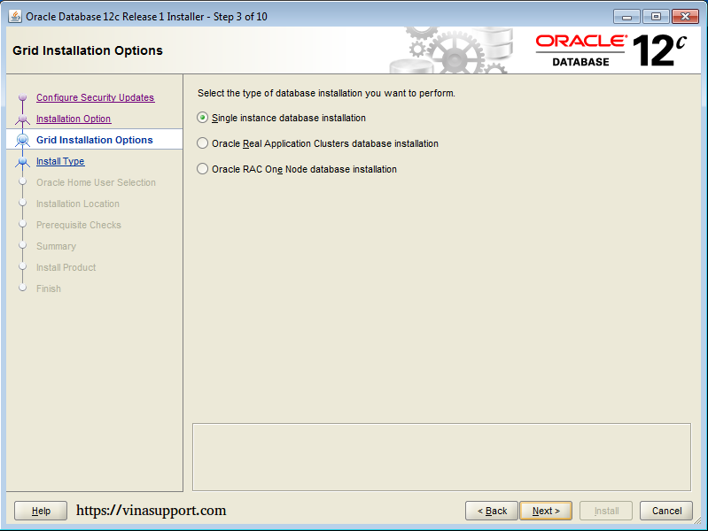 Cài đặt Oracle Database 12c trên Windows step 7