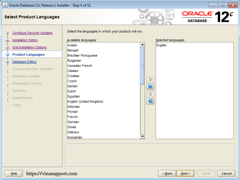 Cài đặt Oracle Database 12c trên Windows step 8