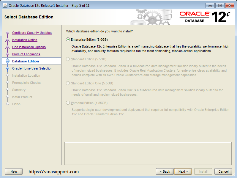 Cài đặt Oracle Database 12c trên Windows step 9