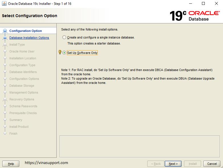 Huong dan cai dat Oracle 19c tren Windows Buoc 1