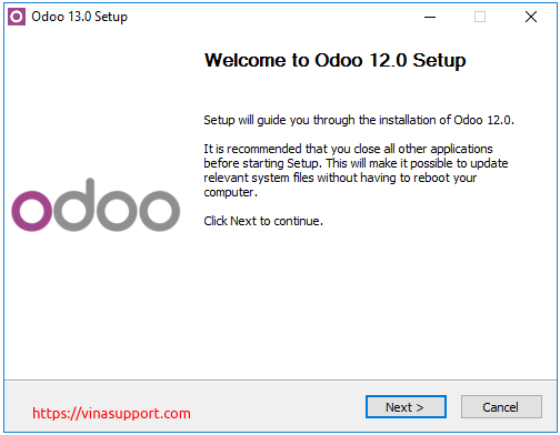 Huong dan cai dat Odoo 13 tren Windows Server 2016 - Buoc 2