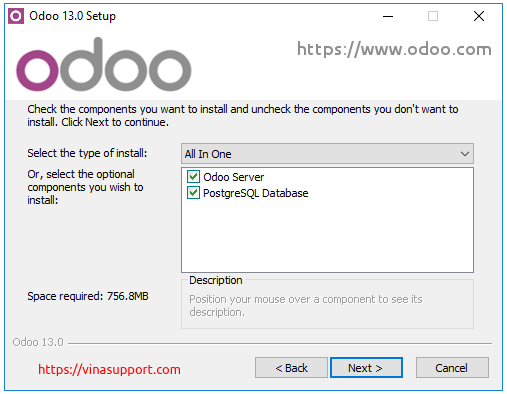 Huong dan cai dat Odoo 13 tren Windows Server 2016 - Buoc 4