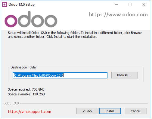 Huong dan cai dat Odoo 13 tren Windows Server 2016 - Buoc 6