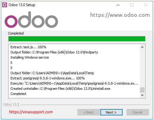 Huong dan cai dat Odoo 13 tren Windows Server 2016 - Buoc 8