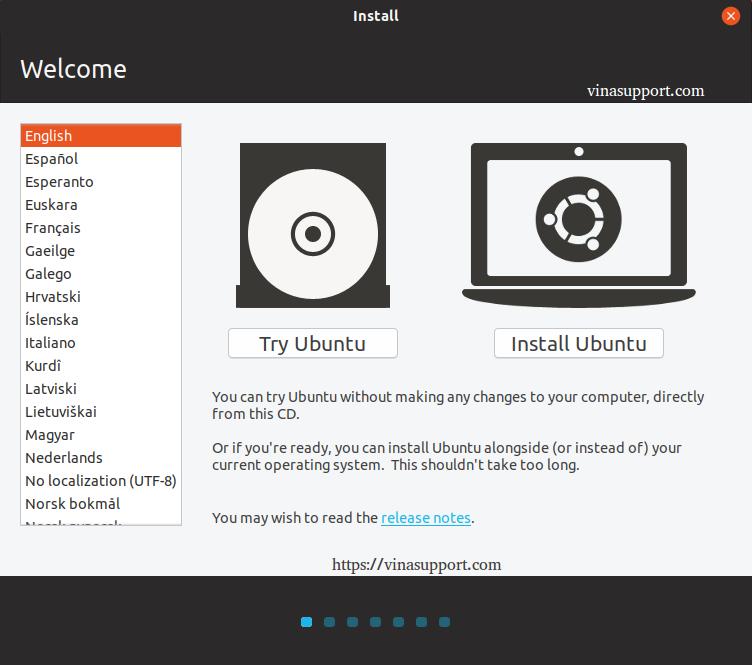 Hướng dẫn cài đặt HDH Ubuntu 18.10 bước 1