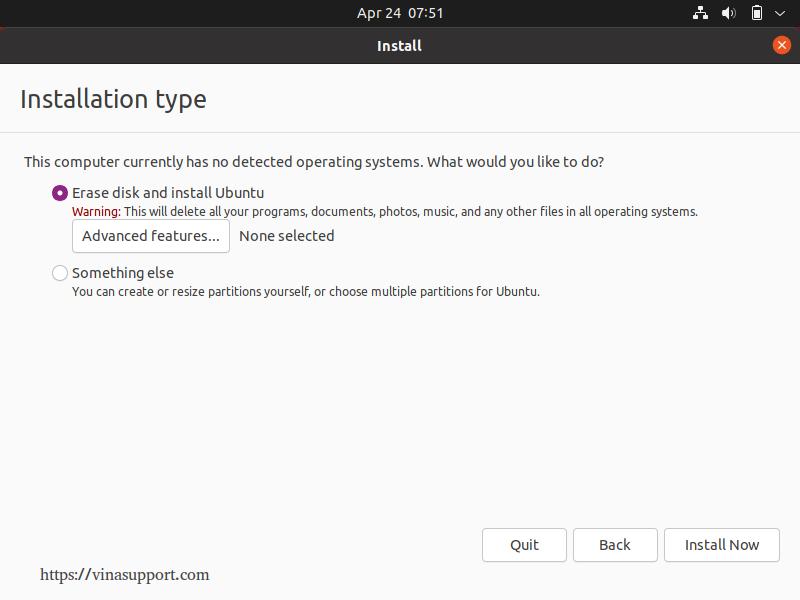 Cai dat Ubuntu 21.04 Buoc 6