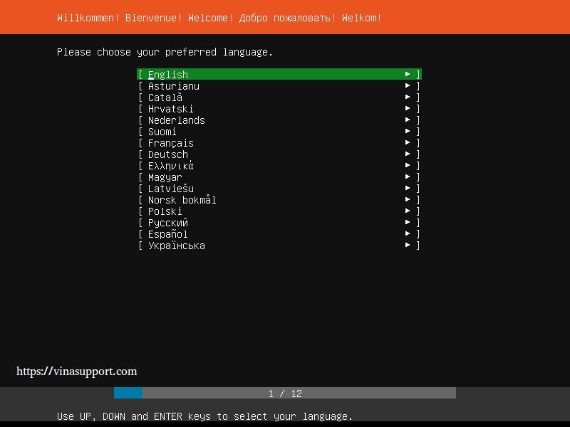 Huong dan cai dat Ubuntu Server 18.04 LTS step 1
