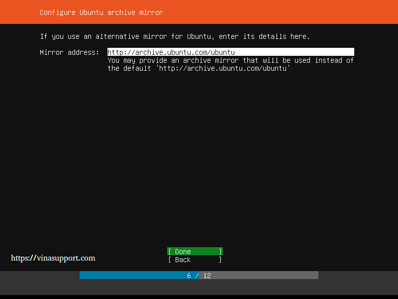 Huong dan cai dat Ubuntu Server 18.04 LTS step 6