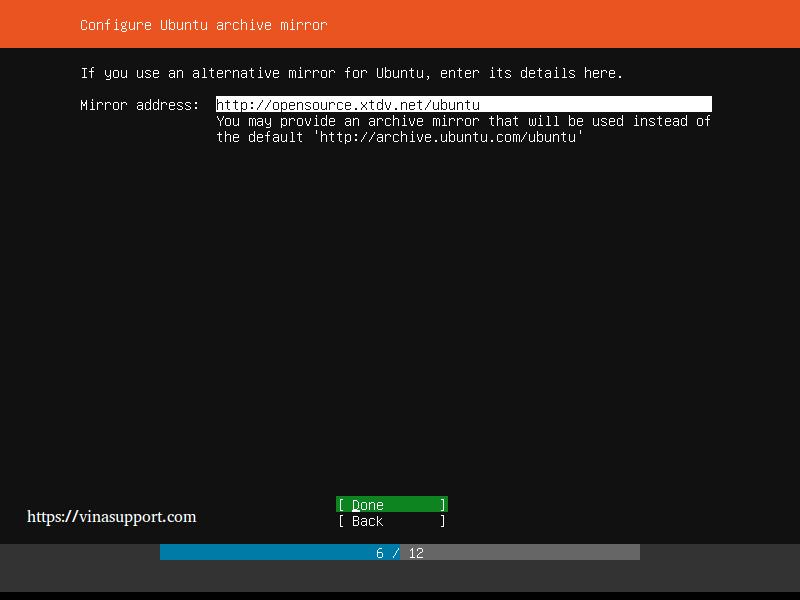 Huong dan cai dat Ubuntu Server 18.04 LTS step 7