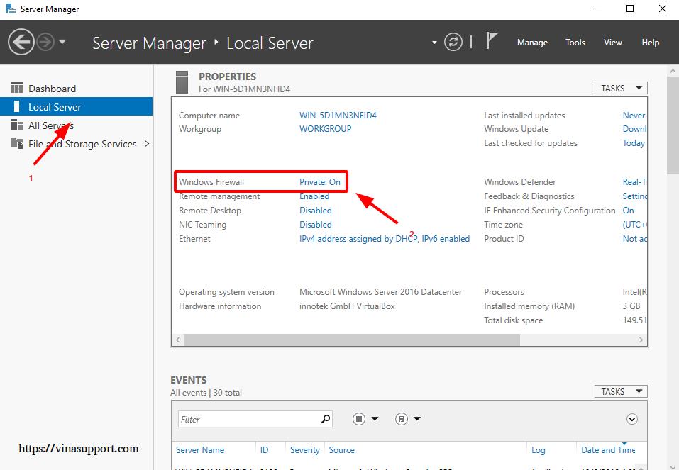 Mo cong (open port) tren Windows Server - Buoc 1