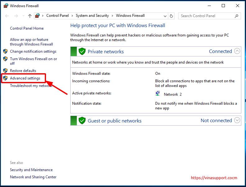 Mo cong (open port) tren Windows Server - Buoc 2