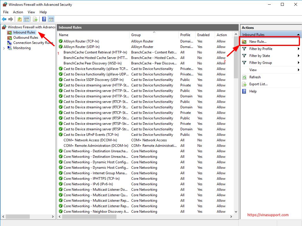 Mo cong (open port) tren Windows Server - Buoc 3
