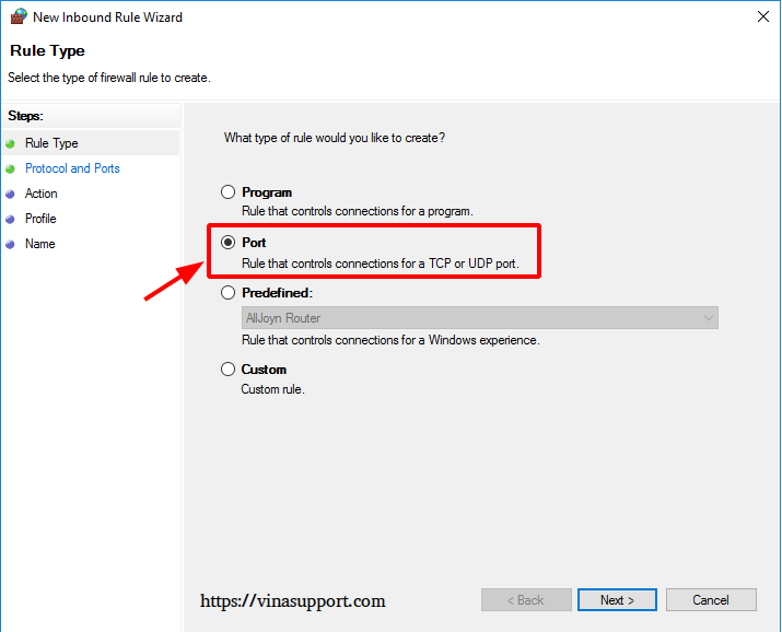Mo cong (open port) tren Windows Server - Buoc 4