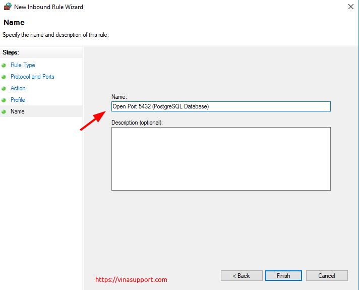 Mo cong (open port) tren Windows Server - Buoc 8