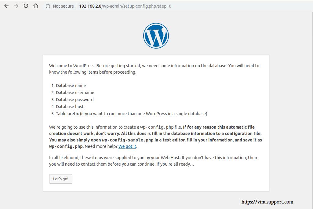 Cai dat va cau hinh WordPress buoc 2