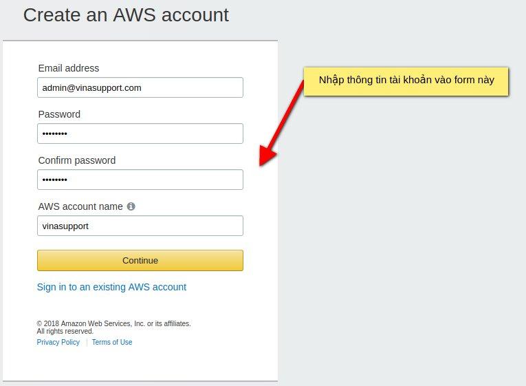 Nhập thông tin đăng ký AWS