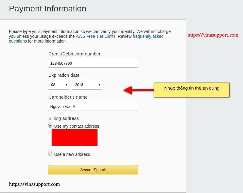 Nhập thông tin thẻ tín dụng đăng ký AWS