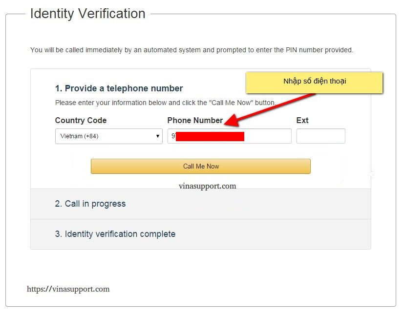 Xác minh số điện thoại đăng ký AWS