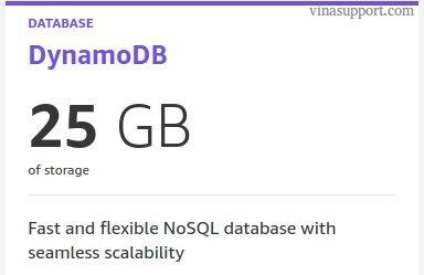 Miễn phí 25GB lưu trữ Amazon DynamoDB