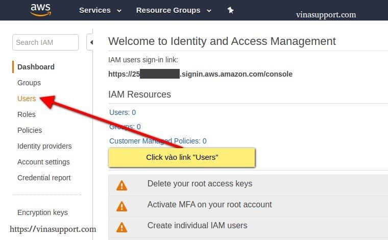 Access tới trang quản lý tài khoản IAM