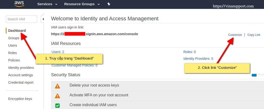Thay đổi đường dẫn login tài khoản IAM
