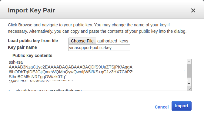 Import Amazon EC2 Key Pair Step 2